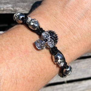 🆕List! Silver Skull Gem Macrame Bracelet! NEW!